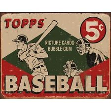 Vintage Replica Tin Metal Sign topps Cards bubble gum USA baseball ball bat 1643