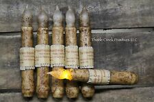 """SIX - Primitive Country Burnt Ivory 6.5"""" Battery Operated TIMER Taper Candles"""