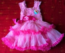 Girls Toddler 3D Flower Tutu Layered Skirt Princess Party Bow Kids Dress 1-5 Y