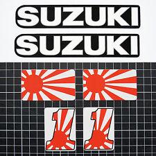 6 Aufkleber Set Retro, 2 x SUZUKI + 2 x JAPAN + 2 x ONE- für Tank, Helm, Deckel