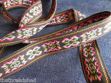 BTY Vintage Hippie Fabric Trim Retro Mod Tribal Black Pink Green Yellow 1in Wide