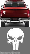6 IN DISTRESSED PUNISHER SKULL VINYL DECAL GRAPHIC JEEP FORD CHEVY DODGE WHITE