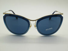 NEW Authentic MIU MIU SMU 51P DHL-1V1 Blue/Gold 57mm Sunglasses w/ Case