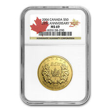 2004 1 oz Gold Canadian Maple Leaf 25th Anniversary Coin - MS-69 NGC - SKU #1272