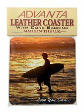 Surfing 'Love You Dad' Single Leather Photo Coaster Animal Breed Gift, DAD-154SC
