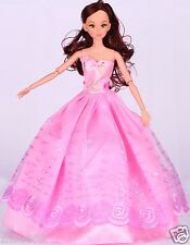 Handwork soft Princess Party Dress/Evening Clothes/Gown For Barbie Doll  1006