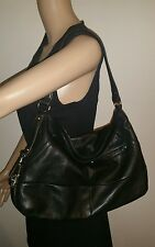 B. Makowsky Black Leather Hobo Shoulder Bag