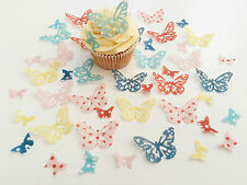 48 Edible Dotty Heaven Butterflies Pre Cut Wafer Cupcake Toppers