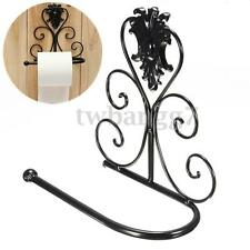 Black Vintage Iron Toilet Paper Bath Towel Roll Holder Bathroom Wall Mount Rack