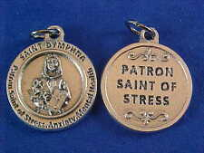 St DYMPHNA Patron St of STRESS ANXIETY MENTAL Saint Medal Silver Tone 3/4""