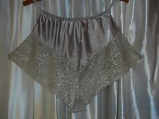 "Fancy silver-gray-beige tap pants satin silky vintage panty Small 23-29"" waist"