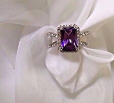 Fashion Womens Ring Purple White Gold Plated 18k Cocktail Cubic Zirconia Size 8