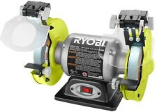 Ryobi 2.1 Amp 6 in. Bench Grinder with LED Lights Magnifying Glass Eye Shields