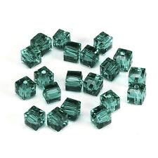 20pcs D-green 6mm Faceted Square Cube Cut glass crystal Loose Spacer beads