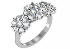 1.7 ct F SI1 round ideal cut diamond flower cluster ring 14k whtie gold size 7