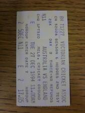 27/12/1994 Cricket Ticket: Australia v England [In Melbourne] The Ashes 2nd Test