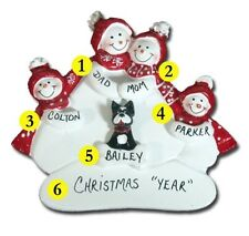 Personalized Snowman Family of 4 with a Dog or Cat Christmas Ornament