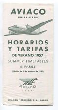 AVIACO TIMETABLE SUMMER 1957 HORARIOS SPAIN