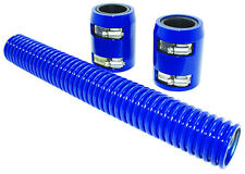 "12"" Blue Stainless Flexible Radiator Hose Kit W/ Billet Clamp Covers Chevy Ford"