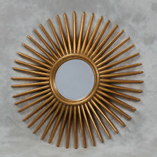 Antique Gold Retro Style Spike Sun Wall Mirror