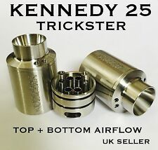 KENNEDY 25 TRICKSTER RDA 1:1 Dual Post 4 Air pipes+Top Airflow +Spares UK Shisha