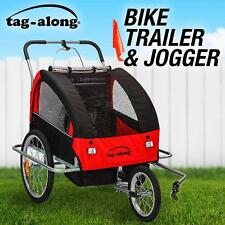 Kids Children Tag-Along Bike Trailer Jogger Stroller Towing 3 Point Harness Red