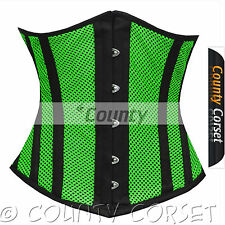 Steel Boned Underbust Heavy Lacing Shaper Green Black Mesh Summer Corset Korset