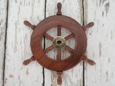 "6"" Wood / Brass Ship Wheel ~ Wooden Ships Wheel ~ Nautical Maritime Decor"