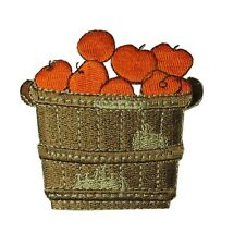 #4486 Autumn/Fall Apple,Fruit w/Basket,Embroidery Iron On Applique Patch