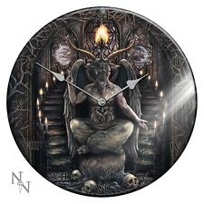 NEMESIS NOW ROUND GLASS WALL CLOCK *BAPHOMET* GOTHIC/OCCULT/PAGAN/WITCH BNIB