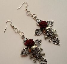Large Gothic Earrings *Silver cross*red rose*pagan*punk*Wiccan* Witch*Celtic
