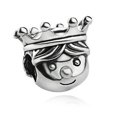 authentic S925 sterling silver Solid Precious Prince Crown European charm bead