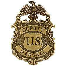 NEW GOLD COLOURED EAGLE US DEPUTY MARSHALL LAW ENFORCEMENT BADGE SOLID METAL