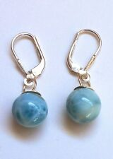 Sterling Silver Blue Larimar Round Sphere One-stone Dangle Earrings