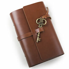 Ancicraft Refillable Leather Journal Diary With Key A6 Blank Paper Red Brown