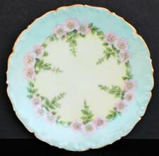 "Antique T&V LIMOGES France Hand Painted Pink BLOSSOM FLOWERS 7 1/4"" Plate #2"