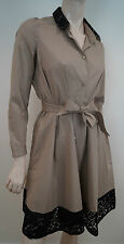 PAULE KA en coton beige stretch & noir dentelle belted shirt manteau robe 36 UK8