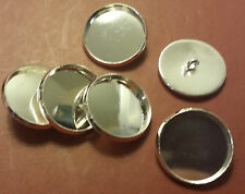 SET OF 6 SILVER-PLATED BUTTON SHANK BLANKS-Fit Cabochon/Flatbacks-Create own