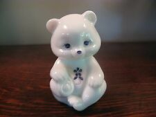 Vintage Fenton Art Glass HP White Milk Glass  Teddy Bear Figurine Paperweight