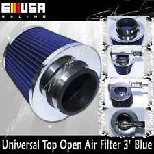 "Universal 3"" Air Filter Open Top Air Intake Turbo Filter Blue"