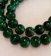 Vibrant Rainforest Green 10mm Mottled Glass Round Beads.  40 per Strand.