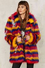 Nasty Gal Collection Rare Bird Faux Fur Coat small  new with tags