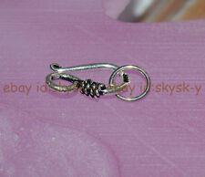 Sterling Silver Hook Bead Clasp Connector For Necklace Bracelet Jewelry Making