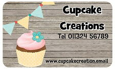 21 PERSONALISED GLOSS CUPCAKE BUSINESS STICKERS, LABELS