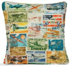 Old Aeroplanes Cushion Cover Throw Pillow Case Fabric Green Turquoise Nautical B