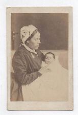 PHOTO ANCIENNE CDV Nourisse Bébé Coiffe Robe Blanche Vers 1870 Profil Nounou