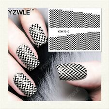 Nail Art Water Decals Stickers Transfers Geo Aztec Pattern Tribal Chequered 7310