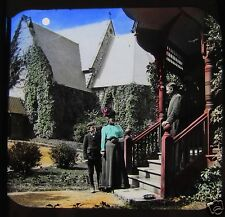 Glass Magic Lantern Slide VICTORIAN LADY & BOY CALLING ON GENTLEMAN C1890