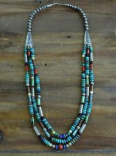 Vintage Navajo Sterling Silver Turquoise Multi-Stone Bead Three Strand Necklace