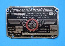 Original Continental A65-8F Data Plate